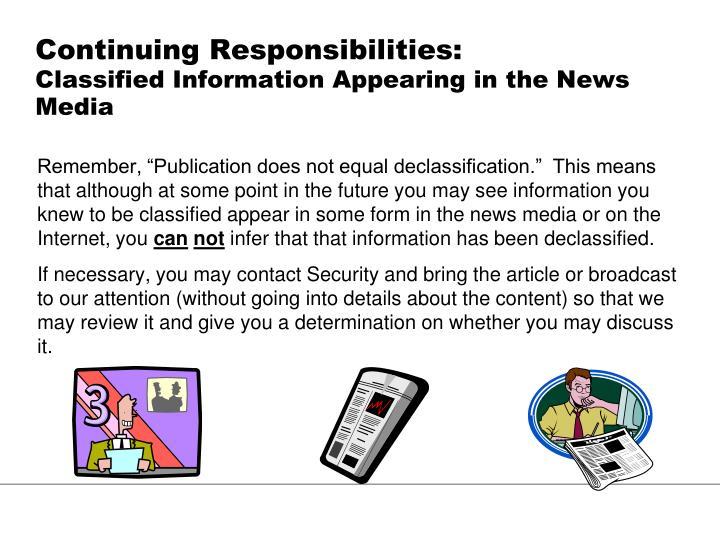 Continuing Responsibilities:
