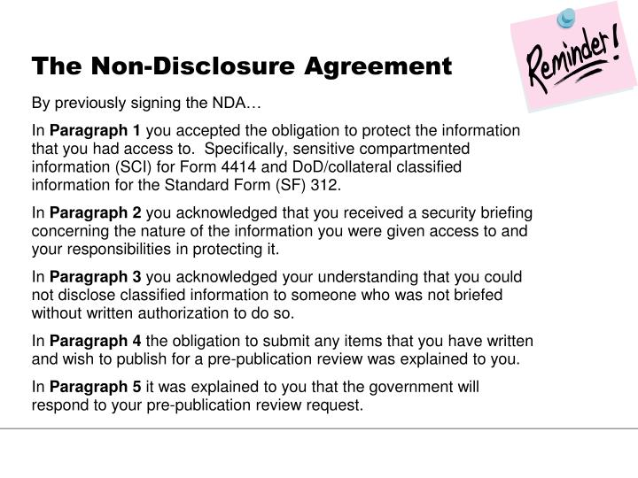 The Non-Disclosure Agreement