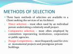 methods of selection