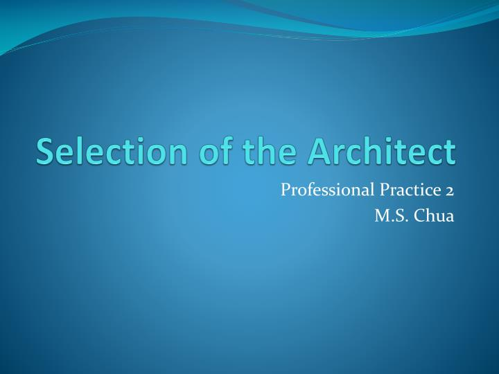selection of the architect