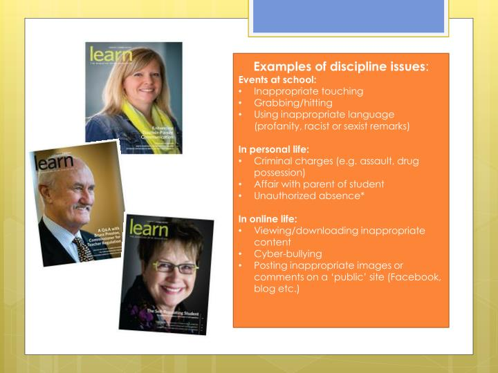 Examples of discipline issues