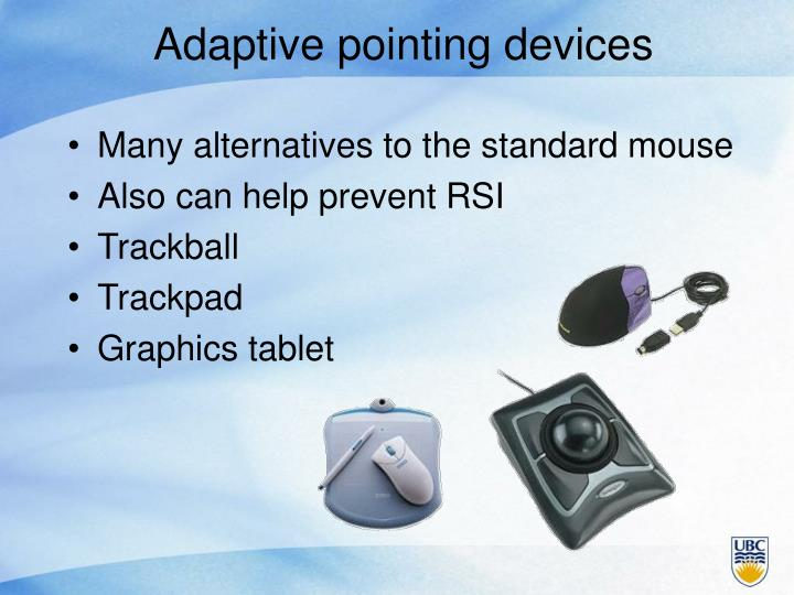 Adaptive pointing devices