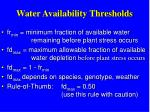 water availability thresholds