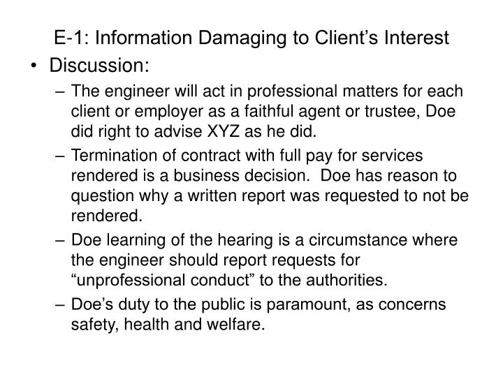 E-1: Information Damaging to Client's Interest