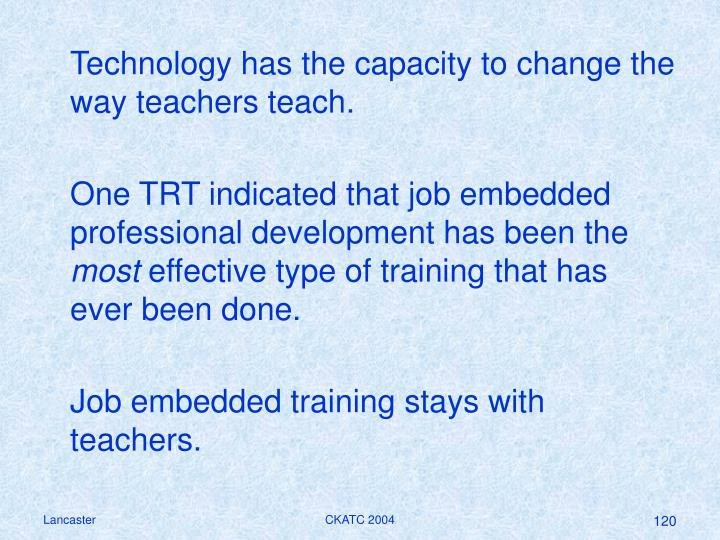 Technology has the capacity to change the way teachers teach.