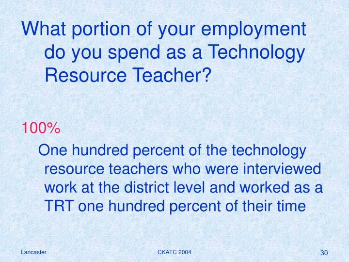 What portion of your employment do you spend as a Technology Resource Teacher?