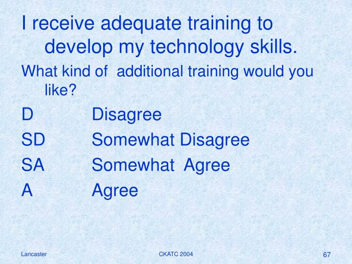 I receive adequate training to develop my technology skills.