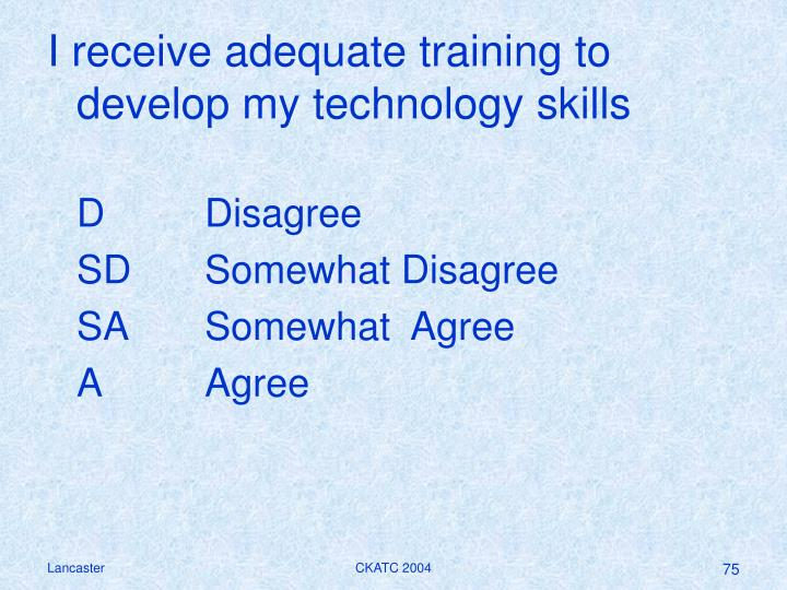 I receive adequate training to develop my technology skills