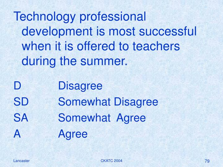 Technology professional development is most successful when it is offered to teachers during the summer.