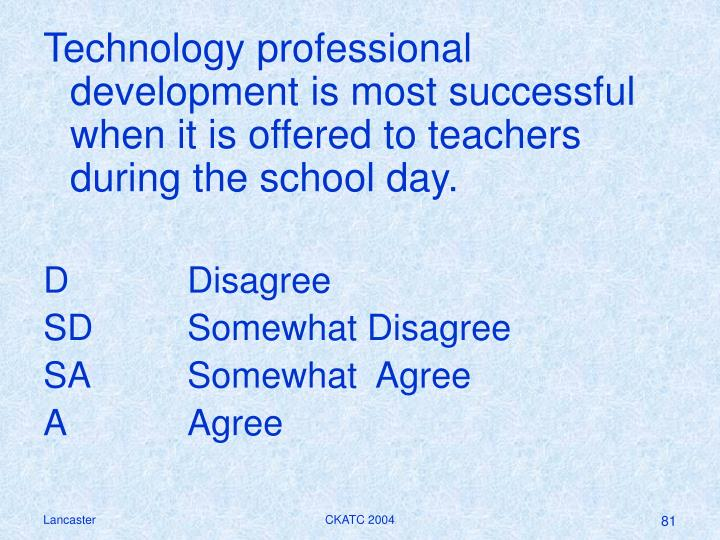 Technology professional development is most successful when it is offered to teachers during the school day.