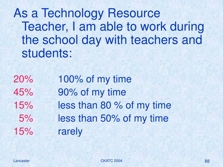 As a Technology Resource Teacher, I am able to work during the school day with teachers and students: