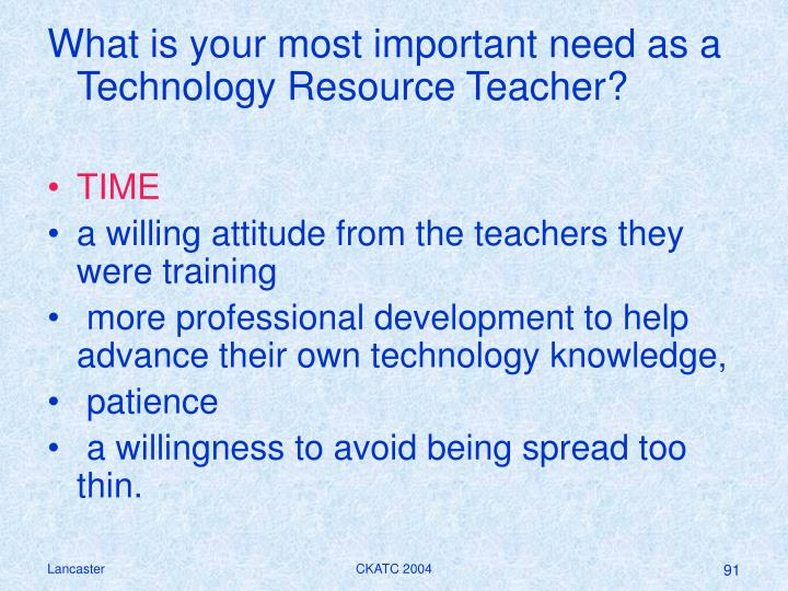 What is your most important need as a Technology Resource Teacher?
