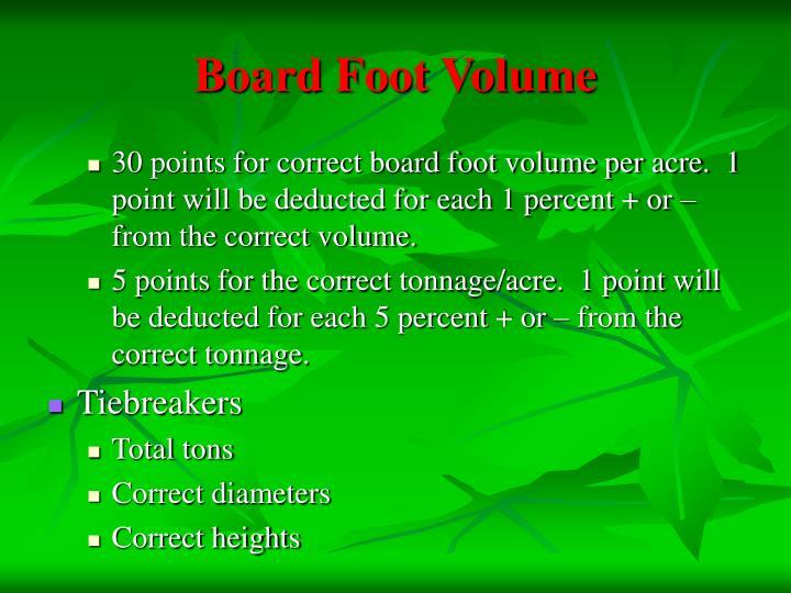 Board Foot Volume