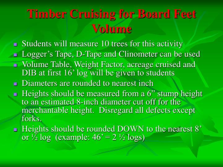Timber Cruising for Board Feet Volume