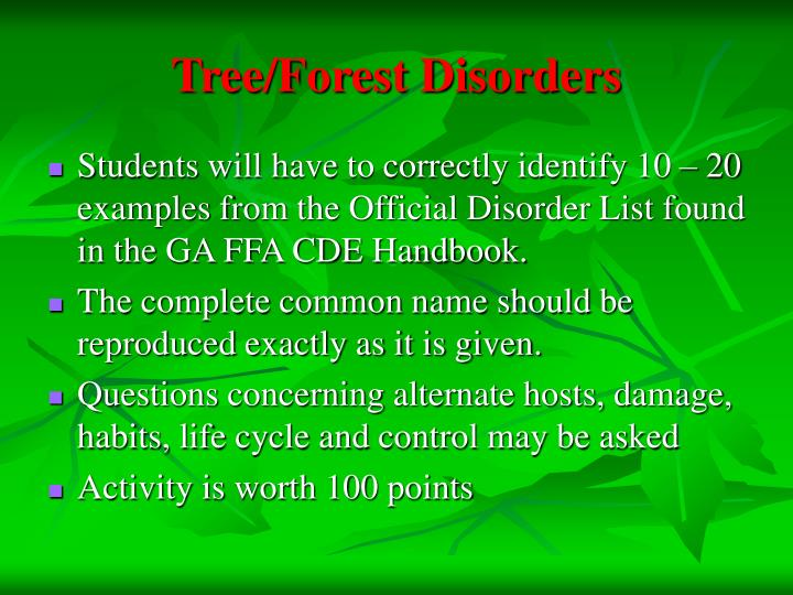 Tree/Forest Disorders