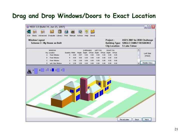 Drag and Drop Windows/Doors to Exact Location