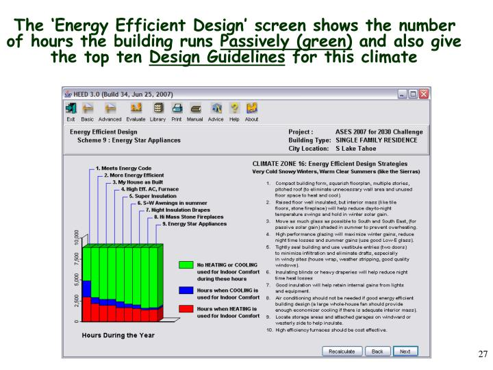 The 'Energy Efficient Design' screen shows the number of hours the building runs