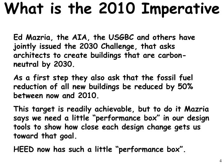 What is the 2010 Imperative