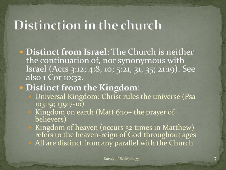 Distinction in the church