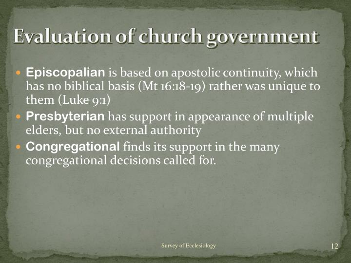 Evaluation of church government