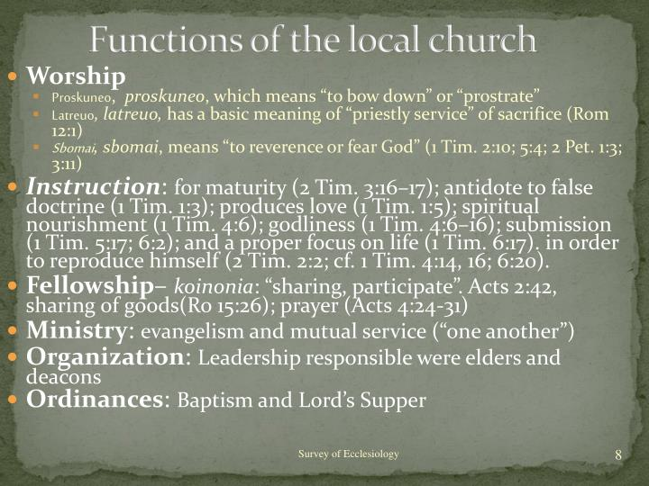 Functions of the local church