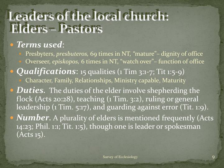 Leaders of the local church: