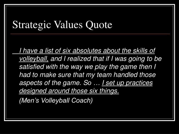 Strategic Values Quote