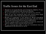 traffic issues for the east end