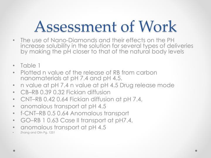 Assessment of Work