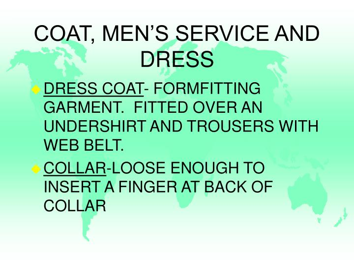 COAT, MEN'S SERVICE AND DRESS