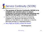 service continuity scon