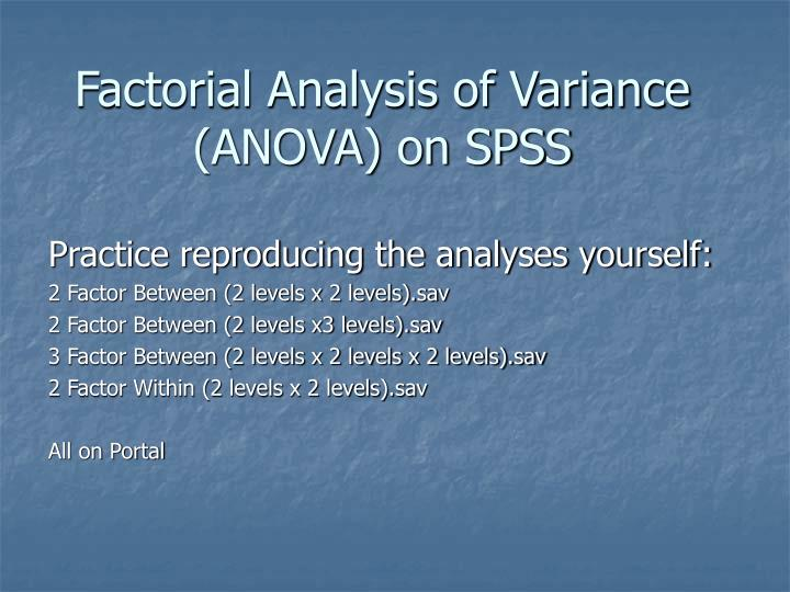 factorial analysis of variance anova on spss n.