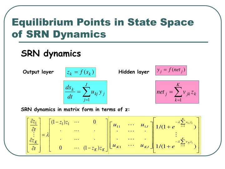 Equilibrium Points in State Space of SRN Dynamics