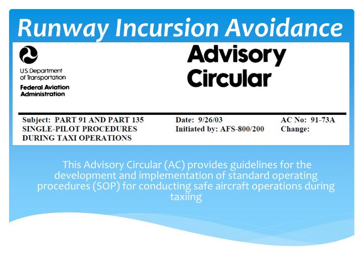 runway incursion avoidance n.