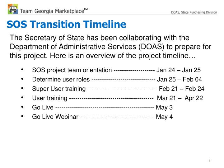 The Secretary of State has been collaborating with the Department of Administrative Services (DOAS) to prepare for this project. Here is an overview of the project timeline…