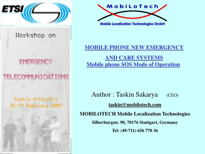 Mobile phone sos mode of operation