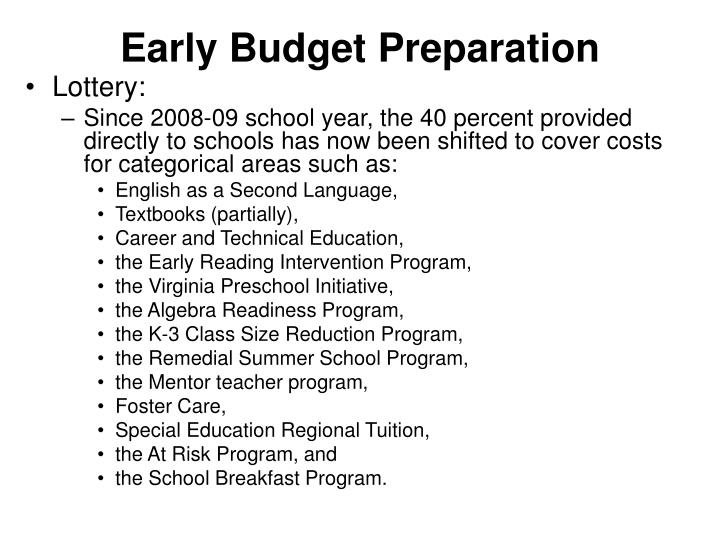 Early Budget Preparation