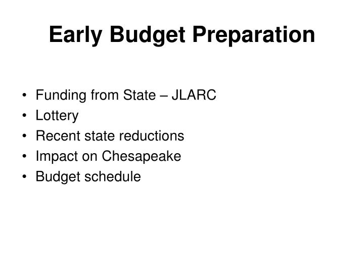 Early budget preparation2