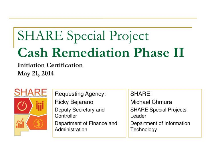 Share special project cash remediation phase ii initiation certification may 21 2014