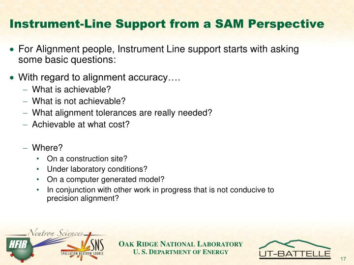 Instrument-Line Support from a SAM Perspective