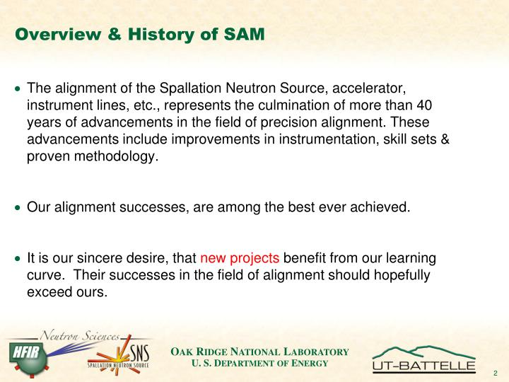 Overview history of sam