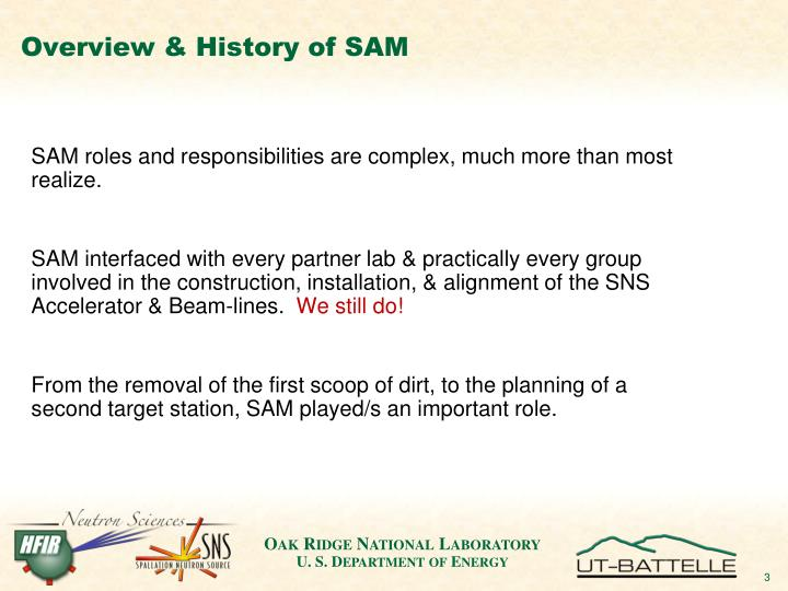 Overview history of sam1
