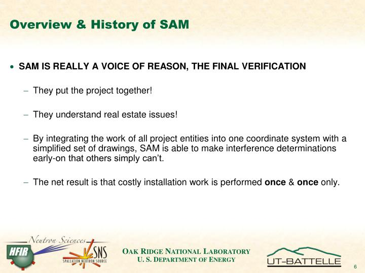 Overview & History of SAM