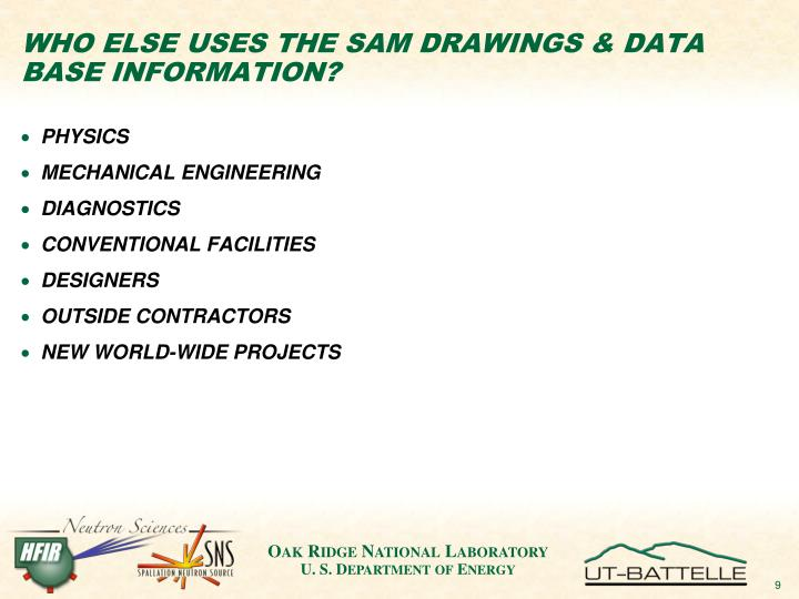 WHO ELSE USES THE SAM DRAWINGS & DATA BASE INFORMATION?