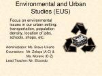 environmental and urban studies eus