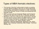 types of mba thematic electives