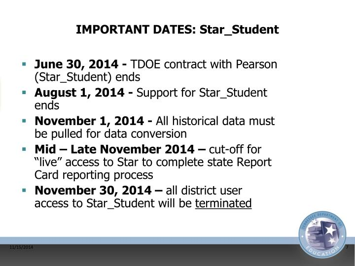 IMPORTANT DATES: Star_Student