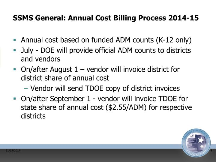 SSMS General: Annual Cost Billing Process 2014-15
