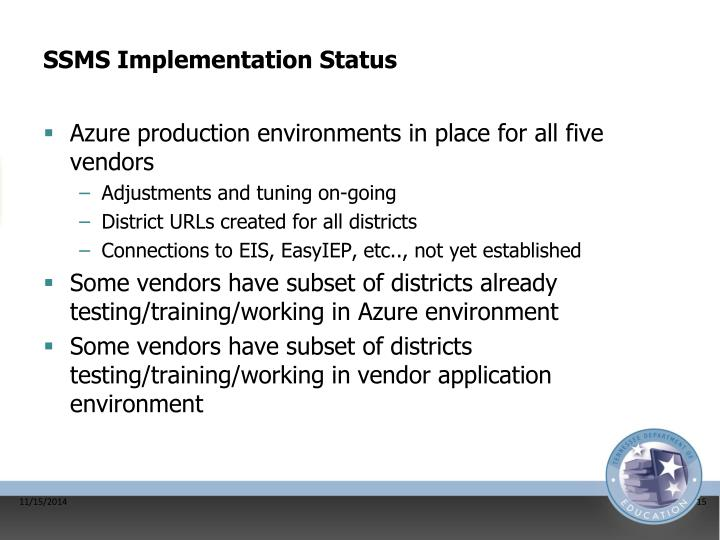 SSMS Implementation Status