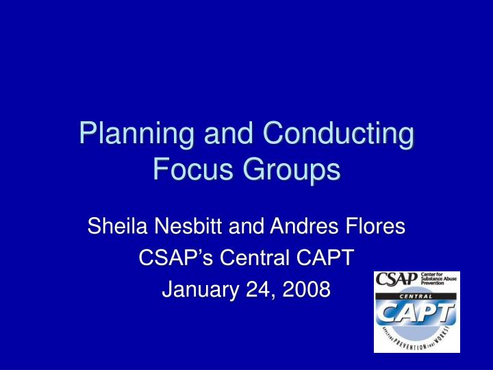 planning and conducting focus groups n.